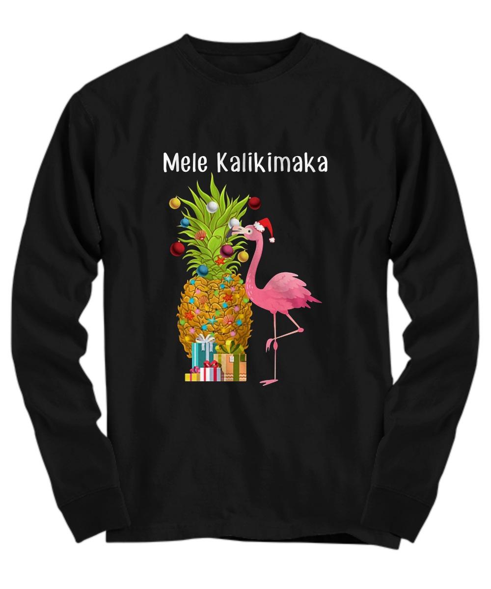Mele Kalikimaka Flamingo Christmas long sleeve