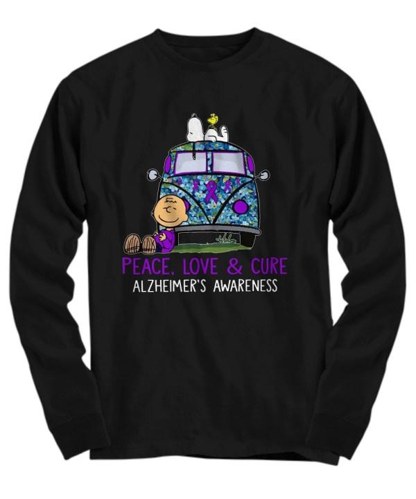 Snoopy charlie peace love & cure alzheimer's awareness Long Sleeve