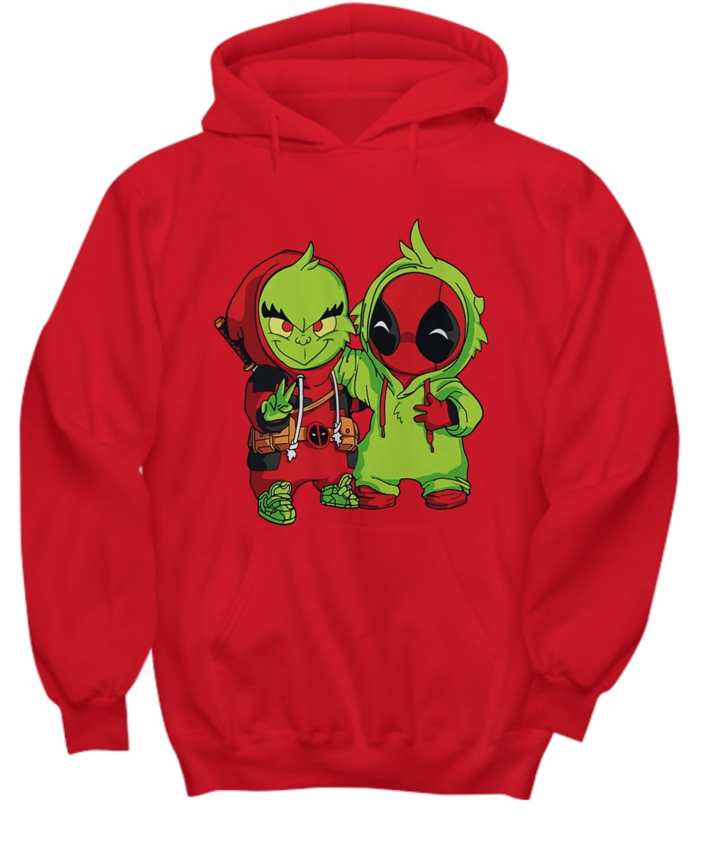Baby grinch and baby deadpool hoodie
