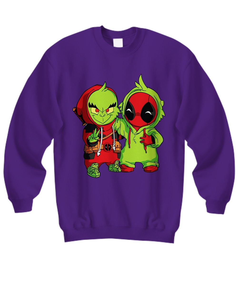 Baby grinch and baby deadpool sweatshirt