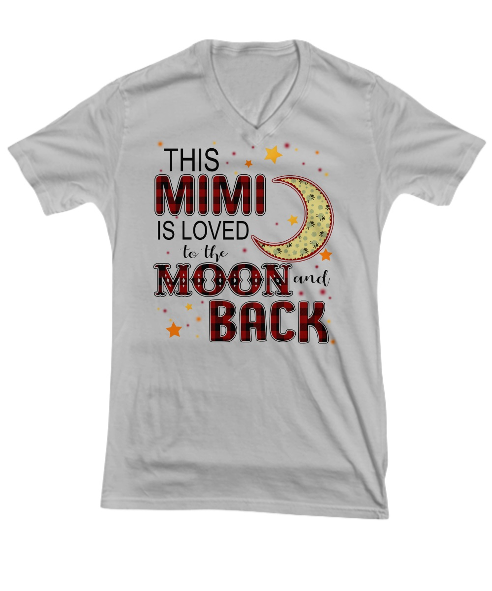 This mimi is loved to the moon and black v-neck