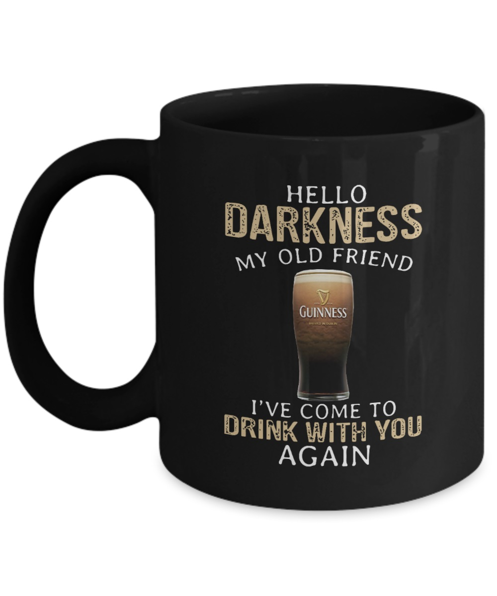 Guinness beer hello darkness my old friend I've come to drink with you again mug