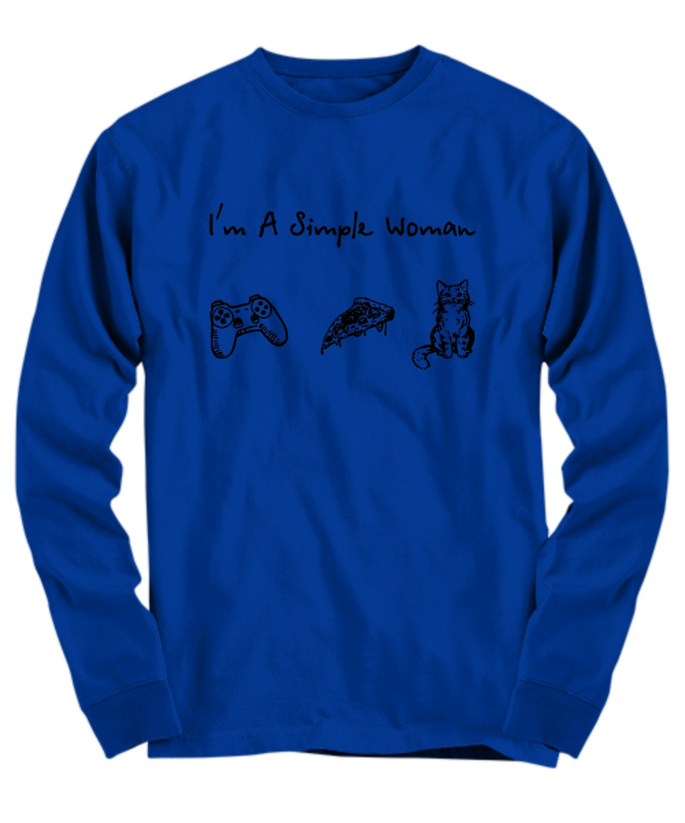 I'm a simple woman play game pizza cat Long sleeve