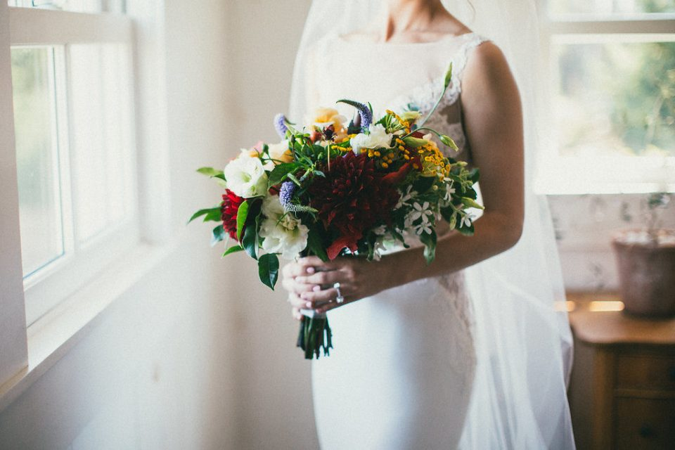 close-up of the bridal bouquet, held by the bride