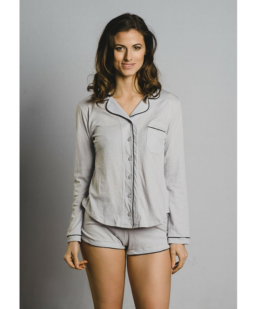 Model wearing soft grey pajamas