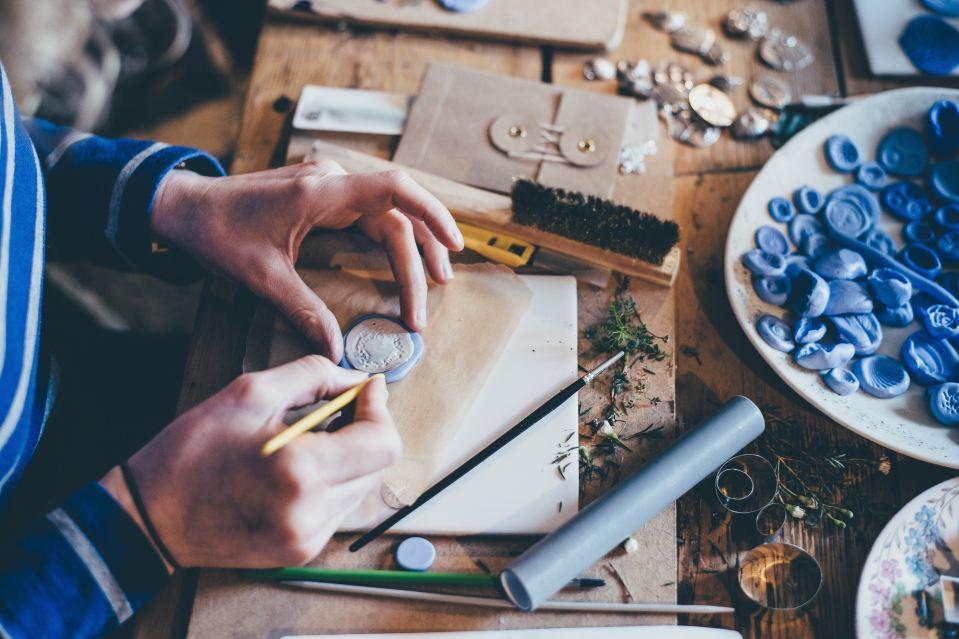 Local artisan hand-making crafts