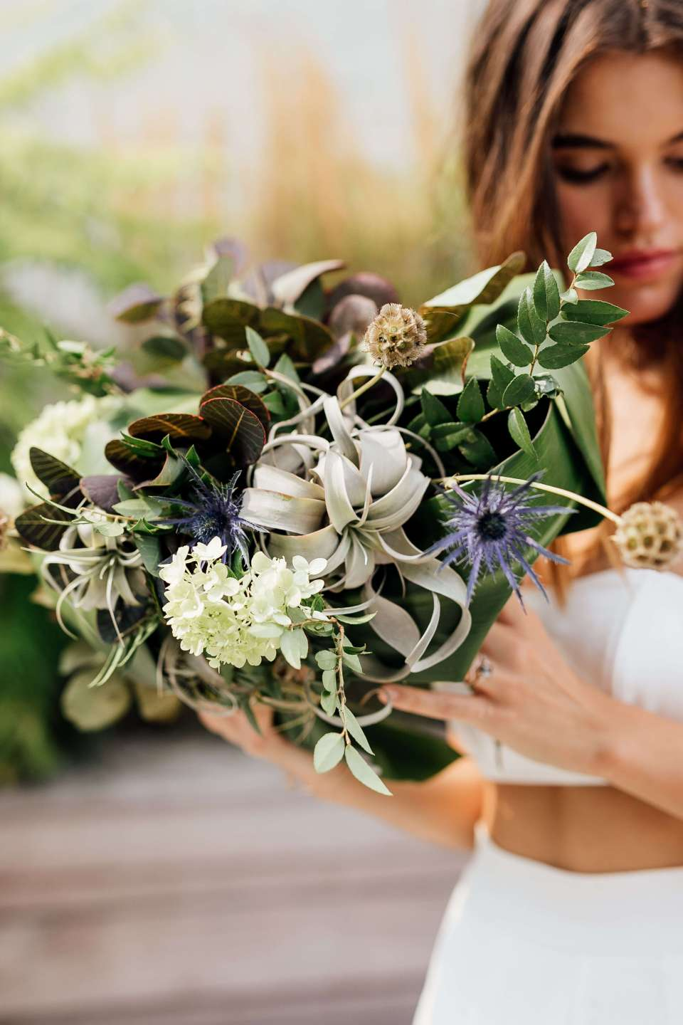 A sustainable wedding bouquet made from repurposed florals and wildflowers.