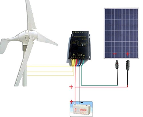 ECO-WORTHY 500W Solar & Wind Power System - 400W Wind Turbine Generator +  100W Polycrystalline 12V Solar Panel - Off Grid Kits for Charging 12 Volt