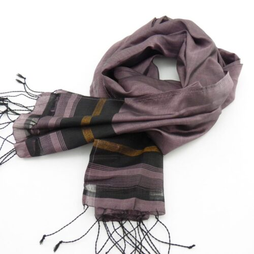 Fair Trade Essential Scarf – Striped Black-Gold