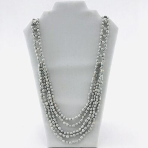 5 Multi Long Necklace - Natural Seeds - White