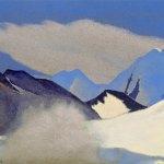ЛАДАК Лангро [Заоблачные выси]. 1937 Langro [The Empyreal Heights] Картон, темпера. 30,5 х 45,7