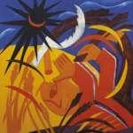 Н.С.Гончарова. Жатва. Часть девятичастного полиптиха «Жатва». 1911. Холст, масло