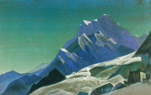Картина Н.К.Рериха. Горы, покрытые снегом, Тибет