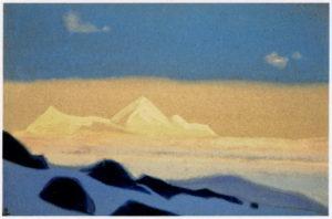 Картина Н.К.Рериха. Граница Тибета [Граница Тибета (Снежное пространство)] 1937