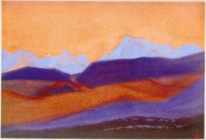 Картина Н.К.Рериха. Граница Тибета [Созвучия гор] 1945