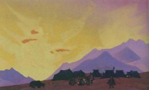 Картина Н.К.Рериха. Тибетский стан. 1936