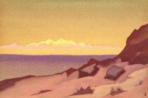Картина Н.К.Рериха. Граница Тибета. Цайдам. 1936