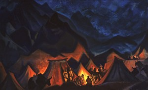 Картина Н.К.Рериха. Шёпоты пустынь (Тибетский стан) Около 1936-1947 гг.
