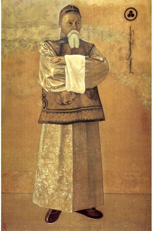 """С.Н.Рерих """"Портрет Н.К.Рериха"""", 1933г., шелк, темпера."""