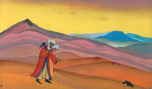 Картина Николая Рериха. Абдал-Мутталиб ищет воду. Замзам. 1938