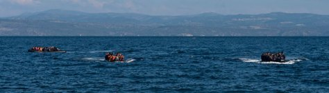 Three boats with refugees