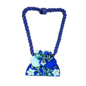 handmade blue pottery boho necklace sold by Ethiqana a shop specialising in eco friendly products, earth friendly products and sustainable products.
