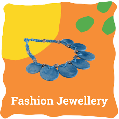 handmade blue pottery boho jewellery, sold by Ethiqana a shop specialising in eco friendly products, earth friendly products and sustainable products.