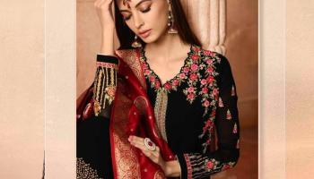 dac6c39d1a Glossy Simar Aaryavi Heavy Embroidered Georgette Straight Dress Material at  Wholesale Rate