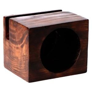 Altavoz de Madera Cubo Grande Oscuro para Smartphone, 100% Vegetal. Sin Consumo eléctrico. Artesano