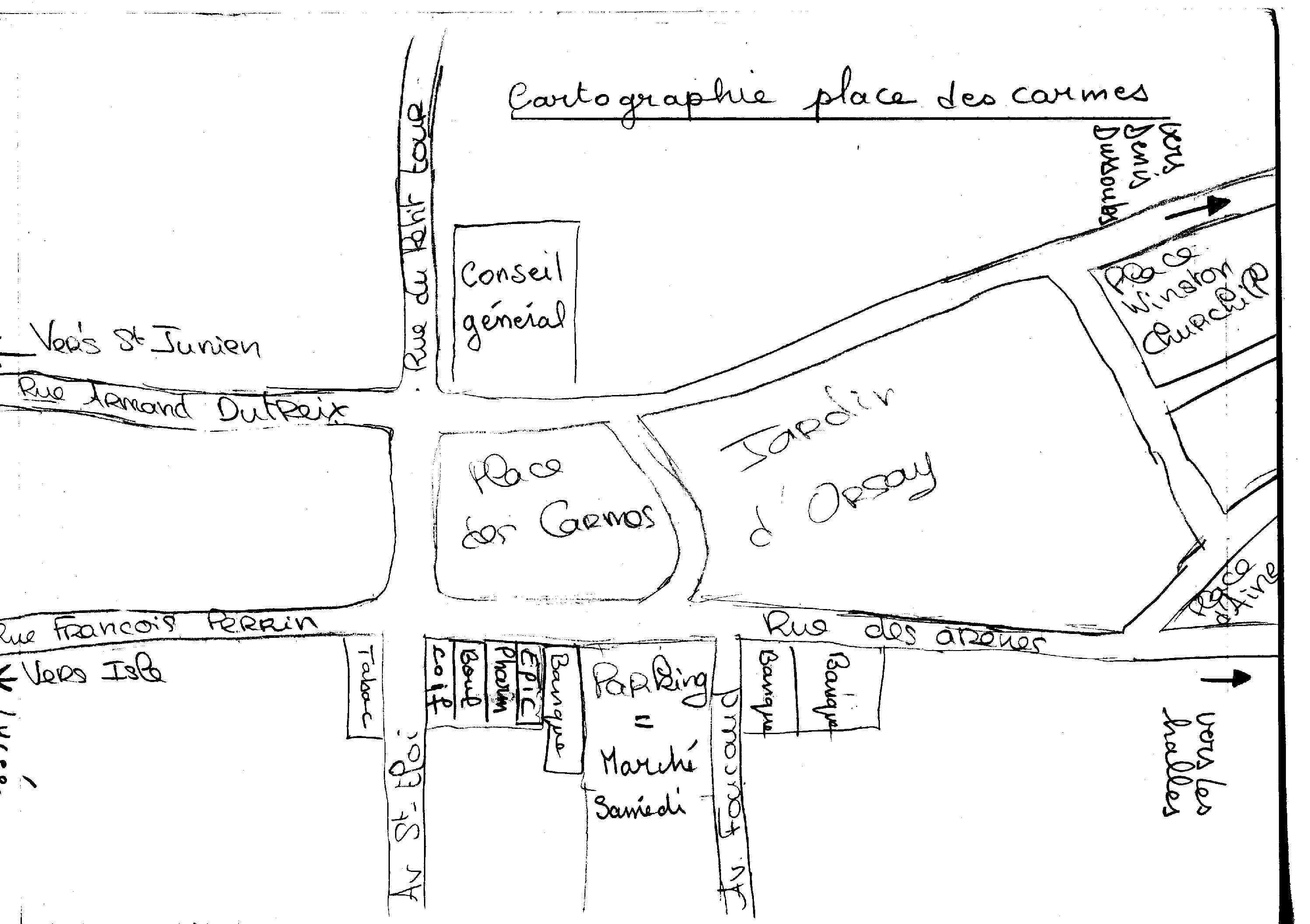 Itinéraire place des Carmes
