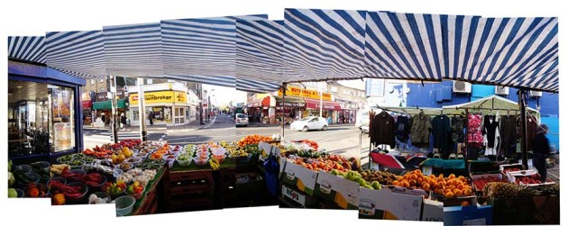 View from Nasser's fruit stand along Rye Lane in Peckham, South London.