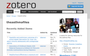 Many asthma files begin with a search through our Zotero database.