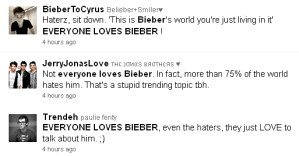 """Screen capture of tweets containing """"everyone loves Bieber"""""""