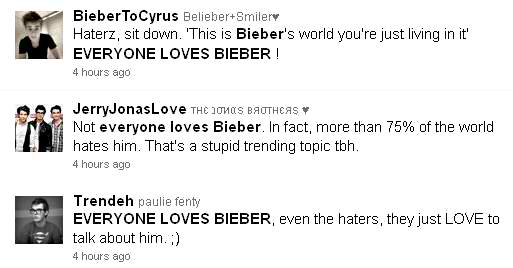 "screen capture of tweets containing ""everyonelovesbieber"""
