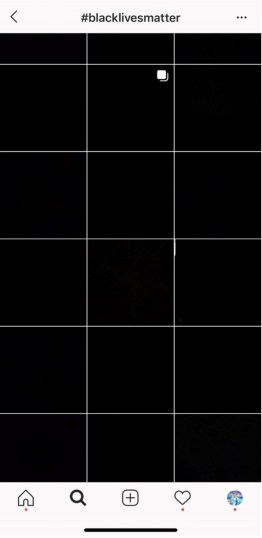 A screenshot from Instagram, depicting a grid of uploaded pictures of black squares.
