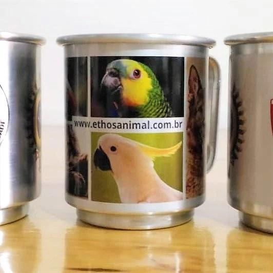 caneca aluminio personalizada foto pet cao cachorro gato papagaio amigos ethos animal