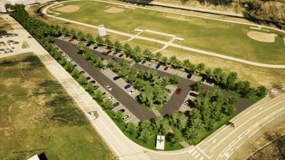 Permeable Paver Parking Lot at South Park, Design by Ethos Collaborative