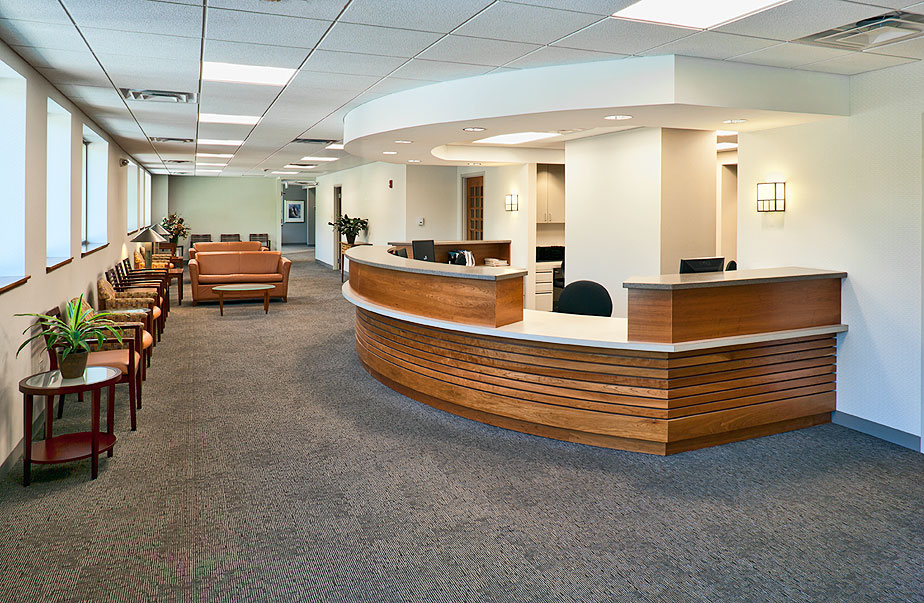 Medical office redevelopment, doctor waiting room, Arlington Heights