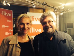 With interviewer Bettine Vriesekoop, after interview on OBA Live, Amsterdam, Netherlands