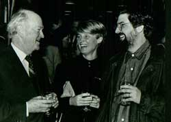 "With his wife, Kaia, and Judge Wilfred Cooper, who was the advocate of Dimitrios Tsafendas, the man who assassinated Dr HF Verwoerd (""the architect of Apartheid""). At the launch of Casspirs and Campari's at the Cape Town Waterfront, 1988."