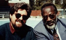 With Nigerian author Kole Omotosho in Harare, 1998