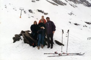 With Kaia and their daughters on a ski slope in Switzerland.