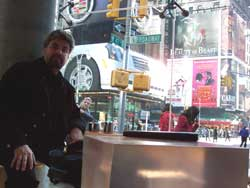 In Times Square, New York, 2003, during the USA book tour for The Long Silence of Mario Salviati.