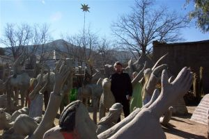 "In the Camel Yard of the late Helen Martins's Owl House, Nieu-Bethesda. She is regarded as a prominent outsider artist. When Van Heerden was a child and visited his grandmother in Nieu-Bethesda, he was often warned not to talk to ""the witch""."