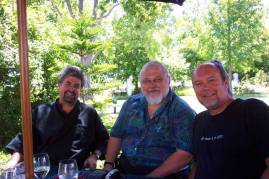 With school friends Dawie (Vaatjie) de Villiers and Koos Kombuis, December 2003.