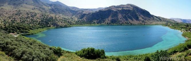 Kurno ežeras ( Kourna lake ). Kreta