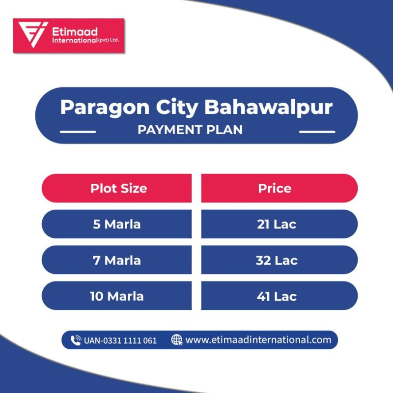 Paragon city Bahawalpur Payment Plan