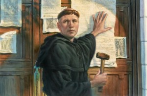 Martin Luther nails his '95 Theses' to the church door at Wittenberg, 31 October 1517