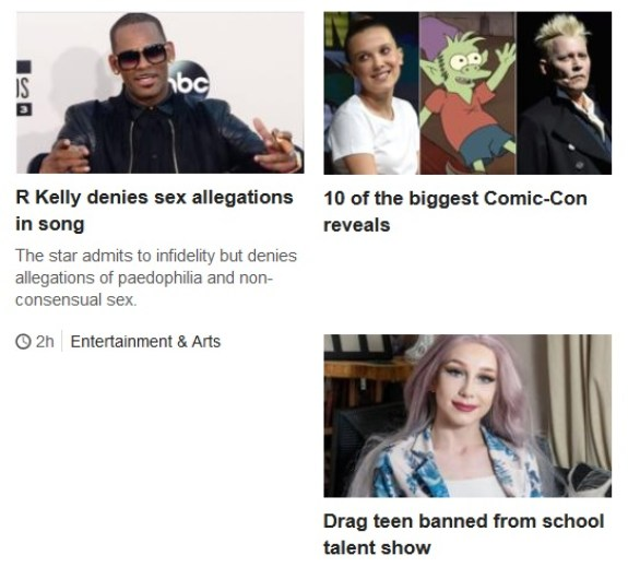 A composite image showing some of the stories on the BBC News home page on 23 July.