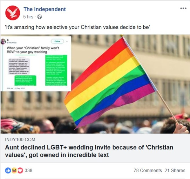 The Independent Online's Facebook post (13 September) advertising this article